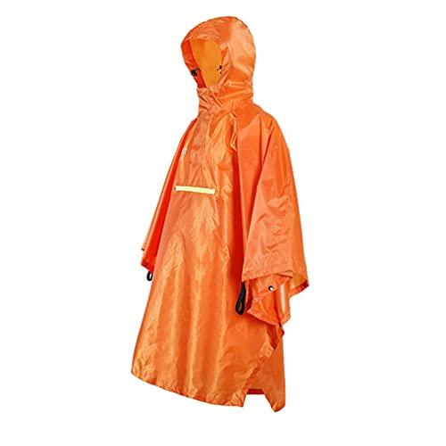 Misfox Poncho de pluie multifonction, imperméable, coupe-vent, pour homme et femme, léger, confortable, la pluie avec poches étanches et réfléchissantes Orange