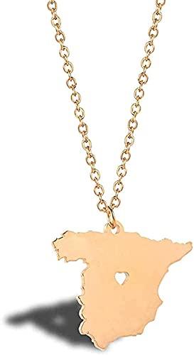 BEISUOSIBYW Co.,Ltd Collar Collar de Acero Inoxidable Collar de Mapa de España Dorado Collar de Glamour conmemorativo de Viaje Europeo Regalo de España