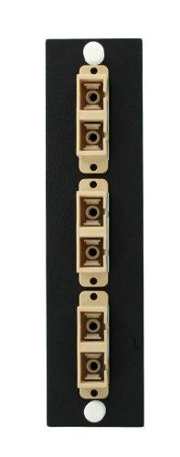 Leviton 5F100–3BC opt-x 3-pk placa con SC dúplex adaptadores (Beige), fósforo bronce funda, 6fibras, negro