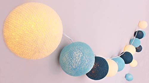 CREATIVECOTTON Guirlande Lumineuse, Boules de Coton avec Mode Timer et Mode Veilleuse (Océan, 20 boules)