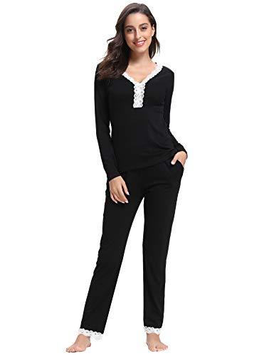 Aibrou Pijamas Mujer Algodón Invierno 2 Piezas,Pijama Encaje Ropa de Dormir Casual Camiseta y Pantalones Largo Conjuntos Suave y Comodo (S, Estilo 2:Negro)