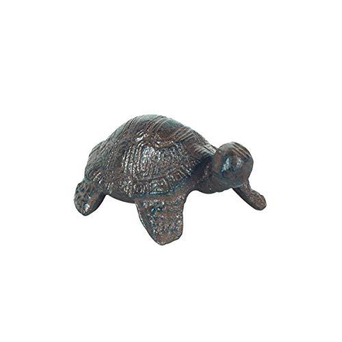 Figura Decorativa de Hierro Colado Tortuga. Adornos y Esculturas. Decoración Hogar. Jardín. Animales. Regalos Originales. 9,50 x 7 x 5 cm.