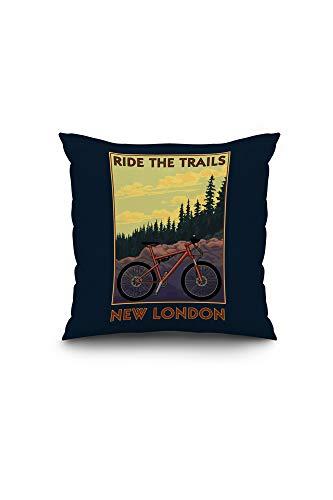 Lantern Press New London, Connecticut - Ride The Trails - Mountain Bike Scene 103120 (16x16 Spun Polyester Pillow, Custom Border)