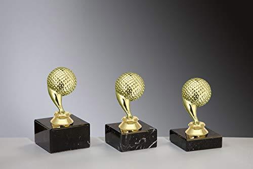Henecka ⛳️ Golf Pokal, Golf-Trophäe, Golf-Schraubfigur Golfball Gold, Marmorsockel schwarz, mit Wunschgravur, wählbar in 3 Größen oder als 3er-Serie (Sockel 70 x 40 mm)