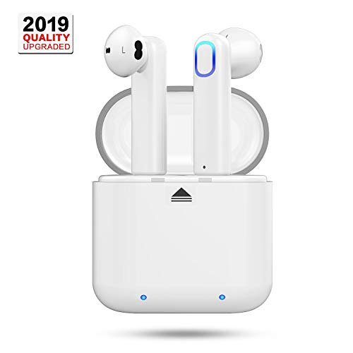 TWS Wireless Earbuds, in Ear Mini Earbuds Wireless Headphones with Dual Microphones One-tap Setup Voice-Enable White Earbuds with Portable Charging Case Compatible with Apple & Android Devices