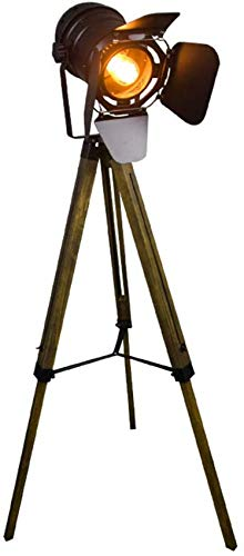 ZJJZ Lámpara de pie de trípode Vintage, Foco Retro de Teatro náutico, lámparas de Madera de decoración Industrial, Accesorios de películas de Cine, (sin Bombillas de luz Edison)