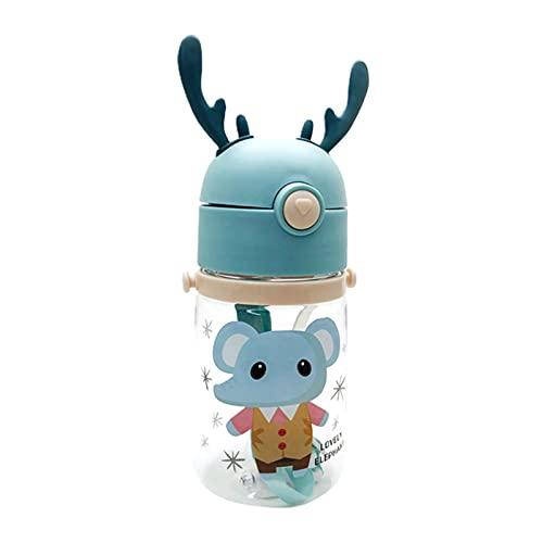 GRASARY 450 ml/550 ml botella para niños con lanyard, taza de agua de dibujos animados con gran capacidad para niños, botella de agua aleatoria de estilo para casa al aire libre, 550 ml