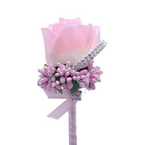 WeishenG Nützliche Ivory Cream Satin Flower Groom Boutonniere Bow Tie Pearl Beads Brautkleid Corsage Pin Broch für Mann Anzug(None Color)