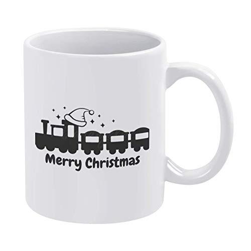 N\A Taza de café con Forma de Tren de Feliz Navidad, Taza de cerámica de 11 oz, Taza de té, Bebida para el hogar y la Oficina, cumpleaños, Aniversario, Halloween, Navidad, Regalo de San Valentín.