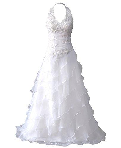 Romantic-Fashion Brautkleid Hochzeitskleid Weiß A-Linie Lang Satin Stickerei Perlen Pailletten DE Modell W041 Größe 36