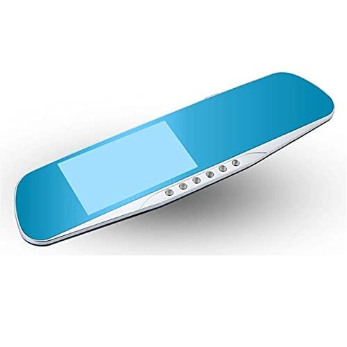 GCS Gcsheng Coche DVR 4.3 Pulgadas 5 Luces LED Coche Retrovisor Espejo Grabador de Video G-Sensor Silver Border Dash CAM Dual Lente Auto Registrador (SD Card Memory : with 16G TF Card)