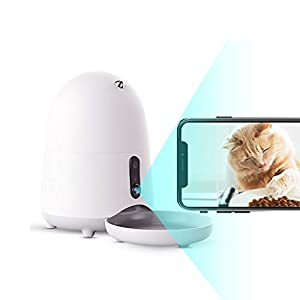 ZRJ Pet Feeder Automatic Food Dispenser Cats Dogs Camera Video Food Feeder Pet Feeder Smartphone App Voice Recorder Programmable Timer Cute Things (Color : White)