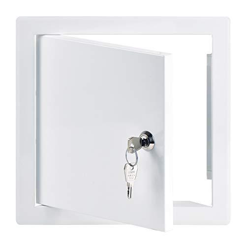 20x20 cm Revisionsklappe Revisionstür Revisionsschacht Weiß Wartungsklappe mit Schloss (200x200 mm)