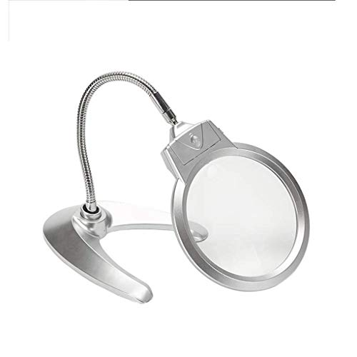 WUHUAROU Lámpara de lupa 2 en 1, lupa iluminada con soporte, para escritorio, costura, mesa, luz brillante para lectura