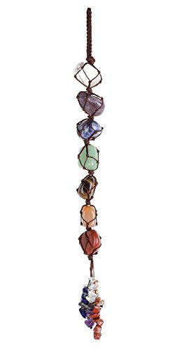 Top Plaza 7 Chakra Gemstones Reiki Healing Crystals Hanging Ornament Home Indoor Decoration for Good Luck,Yoga Meditation,Protection - Tumbled Palm Stones