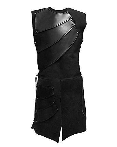 Hombres Túnica Sin Mangas Camisetas Cuello Redondo Chaleco Medieval Chaqueta Negro M