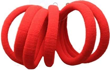 La Peach Fashions Thick Jersey Fabric Endless Ponytail Holders School Colour Ponies Pack Of Six Quality Hair Elastics Pony Tail Bobbles Non Metal (Red