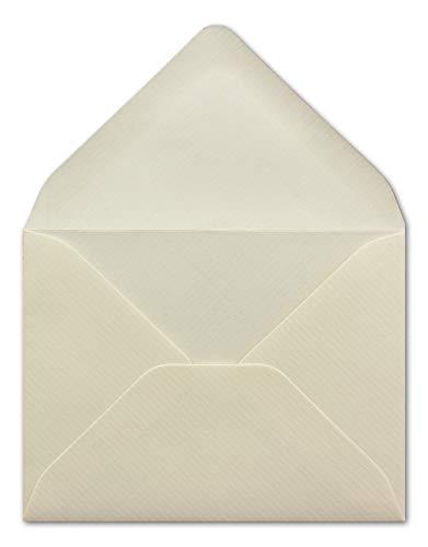 50 DIN C7 Briefumschläge Creme mit gerippter Struktur 7x9 cm - 80 g/m² Nassklebung Kuvert ohne Fenster ideal als Geschenkumschlag Blumenanhänger