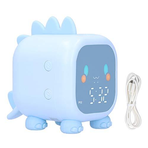 Reloj despertador LED, carga USB Mini reloj despertador portátil con control de voz Dinosaurio Reloj despertador de escritorio con pantalla de temperatura Temporizador de 60 minutos para el dormitorio