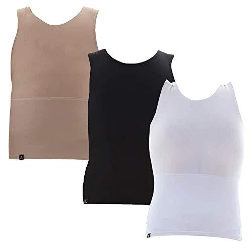 Kit com 03 Cintas Modeladoras Masculina Bodyshaper Slim Fitness Fashion – Branco – Preto – Bege – M
