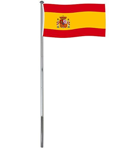 BRUBAKER Mástil Aluminio Exterior 6 m Incluye Bandera de España 150 x 90 cm y Soporte de Tierra