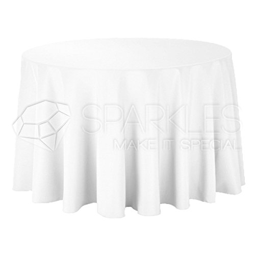 "Sparkles Make It Special 10-pcs 120"" inch Round Polyester Cloth Fabric Linen Tablecloth - Wedding Reception Restaurant Banquet Party - Machine Washable - Choice of Color - White"