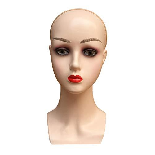 MERIGLARE 22 Pouces Femmes Perruque Faisant Mannequin Postiche Chapeau Casque Affichage Mannequin - Lèvres rouges