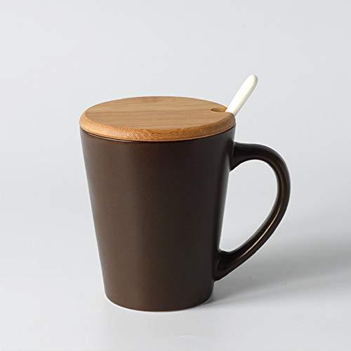 donfhfey827 Taza cónica Mate nórdica Simple con Cuchara de Tapa en Arte Coreano Simple Taza de Desayuno nórdica Taza de café Taza de cerámica