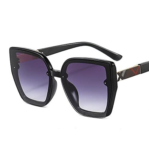 WQZYY&ASDCD Gafas de Sol Gafas De Sol con Forma De Ojo De Gato para Mujer Y Hombre, Montura con Logo Genial, Gradientes, Lentes De Tendencia, Gafas De Sol Negras Vintage A La Moda, Uv400-C2