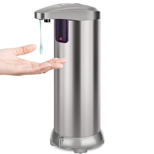 KaKille Dispenser di Sapone Automatico con Acciaio Inossidabile,sensore di Movimento a infrarossi,Base Impermeabile,Interruttore Regolabile,Bagno appropriato,cucine,Hotel,Ristorante