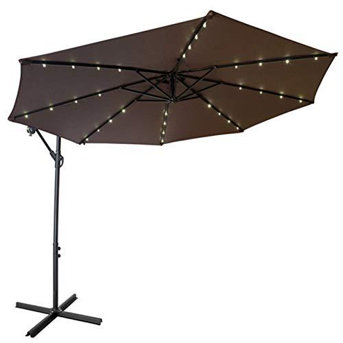 Romantic 32 LED 250 cm Aluminium Parasol Cantilever Parasol Garden Umbrella Market Umbrella Parasol with Stand and Crank Handle