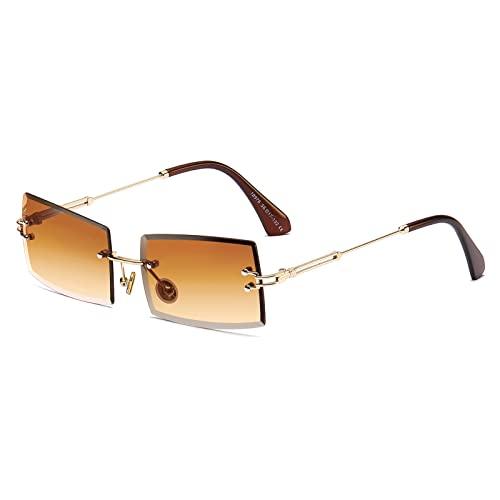 Square Ultra-Small Frame Sonnenbrille für Frauen Männer Rectangle Retro durchsichtige Linse randlose Sonnenbrille