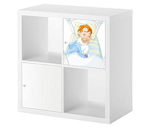 Möbelaufkleber für Ikea KALLAX / 1x Türelement Kinderzimmer Cartoon Baby Kind Träume Kat2 süß Bett Gute Nacht KL1 Aufkleber Möbelfolie sticker (Ohne Möbel) Folie 25D2570