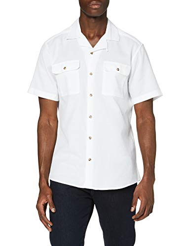 ONLY & SONS Herren ONSANDREW SS REG Waffle SOLID Shirt Hemd, White, XS