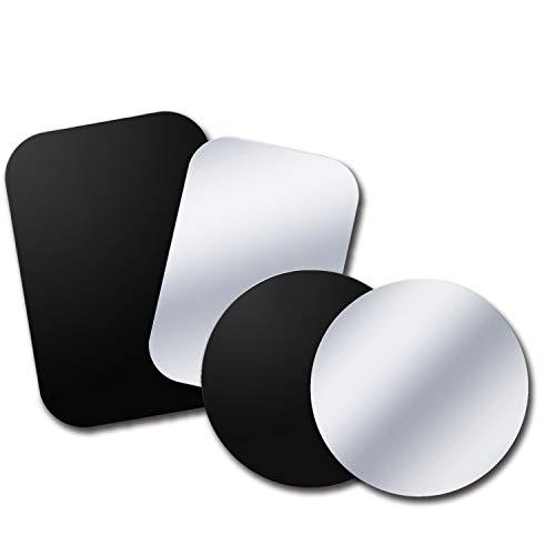 Tryone Metallplatte, 4 Stück Metallplättchen Ersatzplatte ohne Logo und Loch, kompatibel mit Magnete Handy Halterung, 2 Rechteckige und 2 Runden, Schwarz und Silber