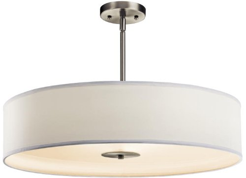 Kichler 42122NI Semi Flush Drum Pendant Lighting, Brushed Nickel 3-Light (24