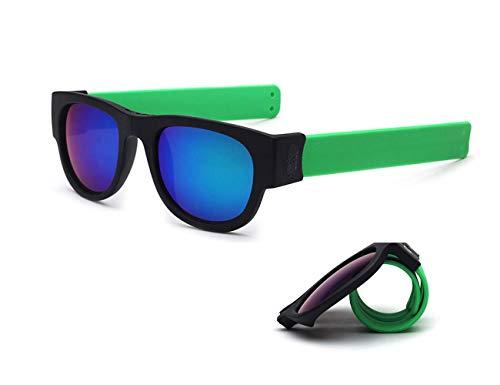 Tuotuo Slapsee zonnebril, opvouwbaar, polariserende bril, comfortabel inklappen en clip op de pols/enkel/fiets voor volwassenen en kinderen