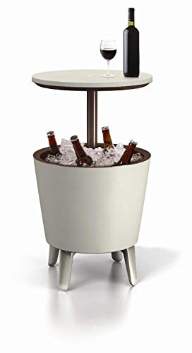 Keter Cool Bar - Mesa nevera para exterior, Blanca / marrón, 50x41x50 cm (Reacondicionado)