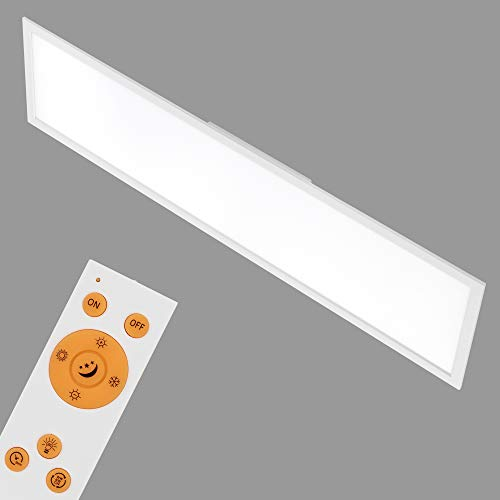 Briloner Leuchten - LED Deckenleuchte-Panel, dimmbar, Farbtemperatursteuerung, Fernbedienung, 36W, 3800 lm, LED-Lampe, Deckenlampe, weiß, 1.20 m