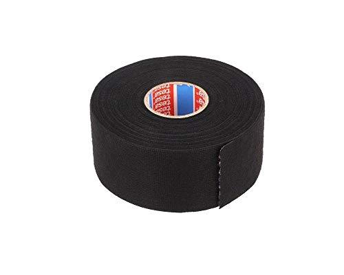 TESA 51608-00008-00 Gewebeband PET-Vlies 51608 Isolierband für Kabelbäume Baumwolle Klebeband (38mm x 25m), Schwarz