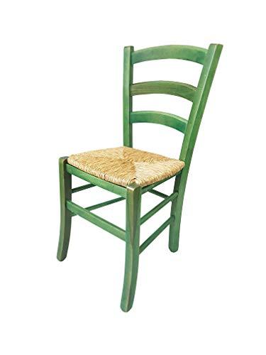 Totò Piccinni Ordine Minimo 2pz, Sedia paesana Venezia in Legno di faggio, ALTISSIMA QUALITA', Robusta, già montata (Verde, Seduta Paglia)