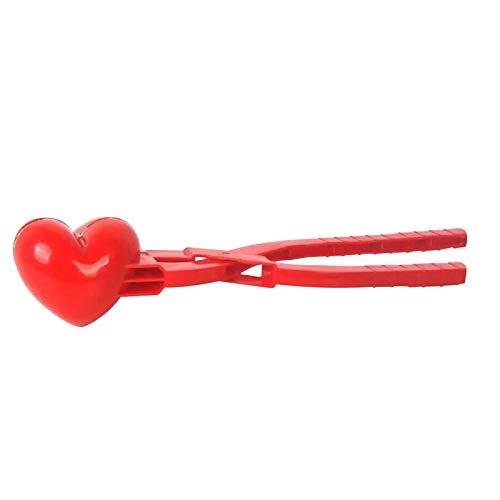 iXOOAA Herz Schneeball Zange, Schneeball Clip, Kunststoff Herzförmige Schneeball Clip für Kinder im Freien spielen Schnee Schneeball, Kids Outdoor Mold Toys (1, 30cmx8cm)