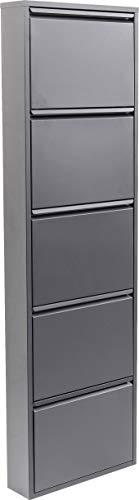 Kare Design Schuhkipper Carusa, Metall, schmal, Grau, Grau, 5 Klappen, Flurmöbel, Schuhablage, 42568, (H/B/T) 170x50x14cm