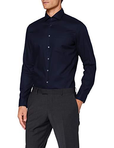 Seidensticker Herren Klassisches Hemd, Blau (Dunkelblau), 45