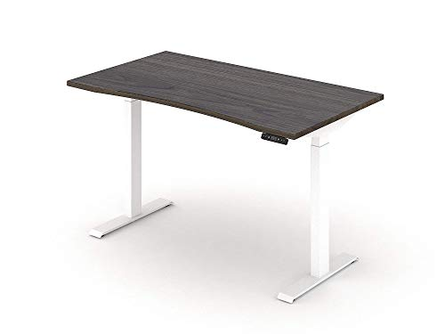ALFA 2 Stage Electric Height Adjustable Desk, Home Office Standing Desks with Cloud White Leg and Tundra Surface, 54''x 30''