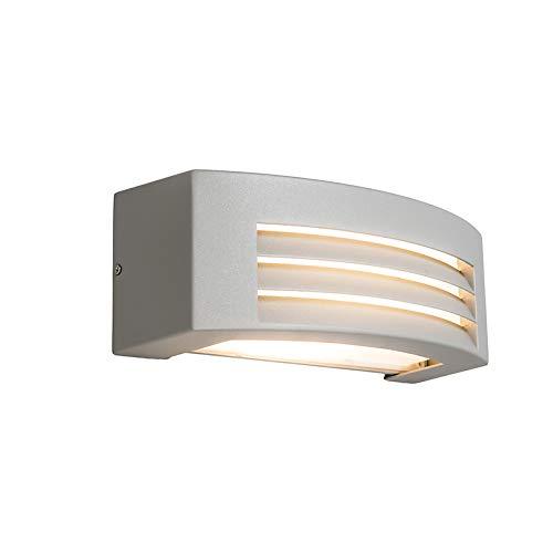 QAZQA Moderne wandlamp lichtgrijs IP44 - Hurricane 1 Aluminium/Kunststof Rechthoekig Geschikt voor LED Max. 1 x 40 Watt