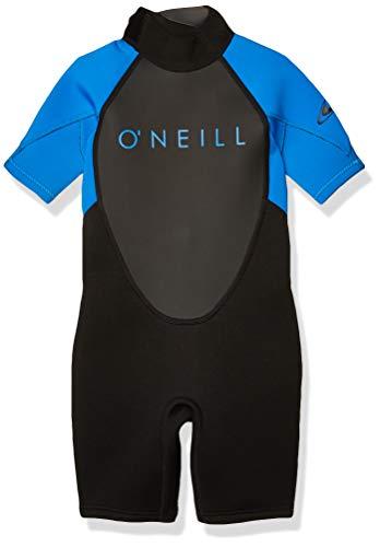 O'Neill Youth Reactor-2 2mm Back Zip Short Sleeve Spring Wetsuit, Black/Ocean, 16