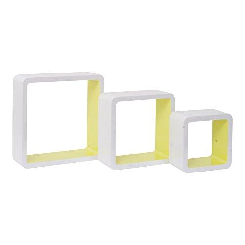 Mobili Rebecca Set 3 Mensole Mensola Scaffale Legno Bianco Lilla Quadrato Cubo Design Camera (Cod. RE4874)