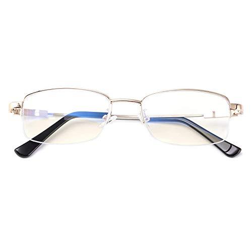 Gafas de lectura alemanas con zoom inteligente, gafas de lectura multifocales con luz azul, lectores multifocales, lentes sin línea de enfoque múltiple (+100°, dorado)