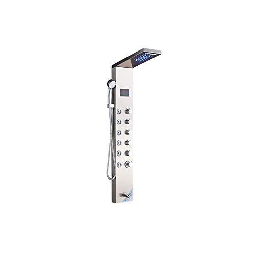 Sistema De Ducha con Pantalla Digital Sistema De Masaje con Cabezal De Ducha Tipo Lluvia Manija Baño 6 Interruptor De Función Montado En La Pared,C